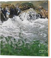 Over The Stones The Water Flows Wood Print
