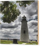 Overcast Clouds At Turkey Point Lighthouse Wood Print
