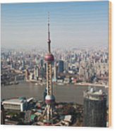 Overhead View Of Oriental Pearl Tower In Shanghai Wood Print