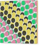 Overlayed Dots Wood Print by Louisa Knight