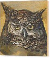 Owl Watercolor Wood Print