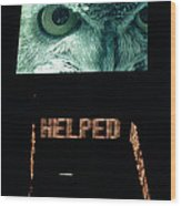 Owl Eye Zipper Sign Times Square Wood Print