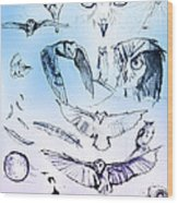 Owl In Flight Wood Print