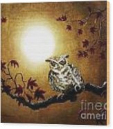 Owl In Maple Leaves Wood Print