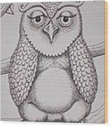 Owl Sketch Wood Print by Barbara Stirrup