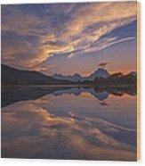 Ox Bow Bend Sunset Wood Print