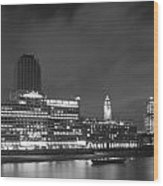Oxo Tower Night  Bw Wood Print
