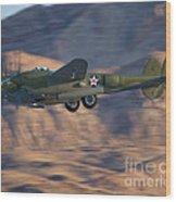 P-38 Gear Up Wood Print by Tim Mulina