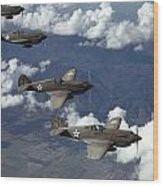 P-40 Pursuits Of The U.s. Army Air Wood Print by Luis Marden