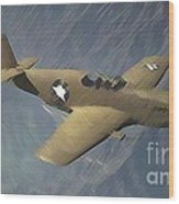 P 51 Mustang On A Mission Wood Print