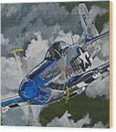 P-51 Mustang Over Germany Wood Print