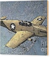 P51 Mustang In Flight Wood Print