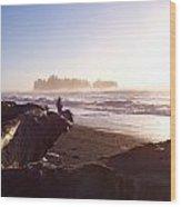 Pacific Ocean Sunsest Walk Wood Print by Christine Burdine