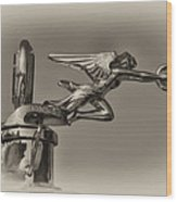 Packard Angel Hood Ornament In Sepia Wood Print