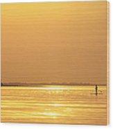 Paddle Boarder At Dawn Wood Print