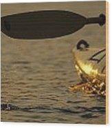 Paddling A Kayak Over Walden Pond Wood Print