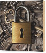 Padlock Over Keys Wood Print by Carlos Caetano