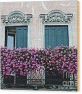 Padua Balcony And Window Boxes Wood Print