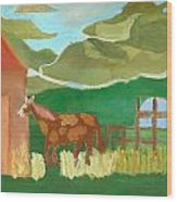 Paint Pony At Red Schoolhouse Wood Print