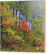 Painted Autumn Wood Print by Carolyn Wright