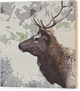Painted Bull Elk Wood Print