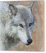 Painted Grey Wolf Wood Print