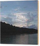 Painted Mountain Lake Wood Print