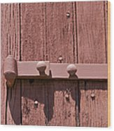 Painted Red Iron Hinge On A Red Barn Door Wood Print