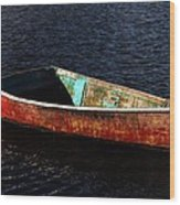Painted Row Boat Wood Print