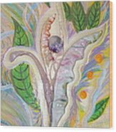Painting And Fused Glass Flora Wood Print by Judy Via-Wolff