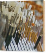 Painting Brushes Wood Print