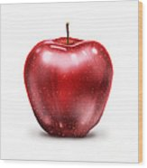 Painting Of Red Apple Wood Print
