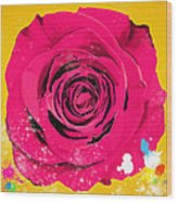 Painting Of Single Rose Wood Print