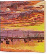 Painting With Boats At Sunset Tnm Wood Print