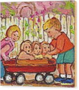 Paintings For Children - Boy - Girl - Red Wagon And Puppies Wood Print