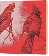 Pair Of Cardinals Wood Print