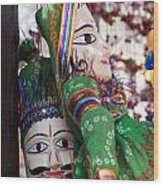 Pair Of Large Puppets At The Surajkund Mela Wood Print