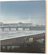 Palace Pier And Shoreham Power Station Wood Print
