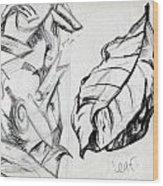 Palm And Leaf Wood Print