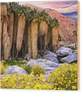 Palm Oasis And Wildflowers Wood Print