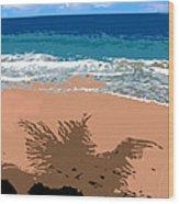 Palm Shadow On The Beach Wood Print