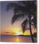 Palm Sunset Wood Print