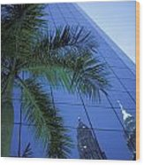 Palm Tree And Reflection Of Petronas Wood Print