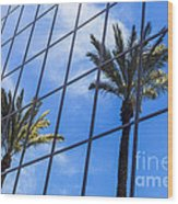 Palm Trees Reflection On Glass Office Building Wood Print