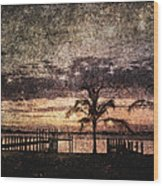 Palms And Docks Wood Print