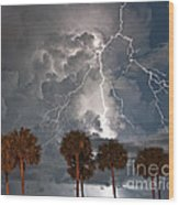 Palms And Lightning  Wood Print