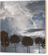 Palms And Lightning 3 Wood Print
