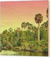 Palms In Twilight Wood Print