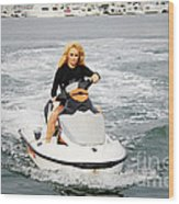 Pamela Anderson Is A Jet Ski Vixen Wood Print