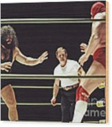 Pampero Firpo Vs Texas Red In Old School Wrestling From The Cow Palace  Wood Print